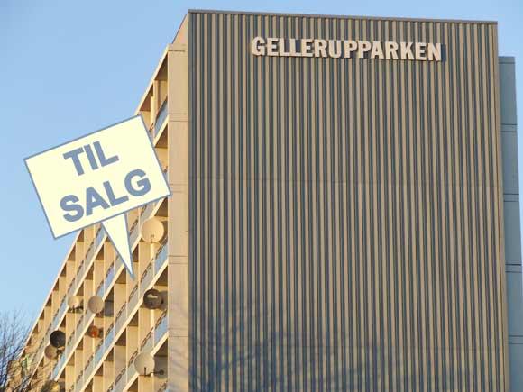 Gellerupparken til salg. Fotocollage baseret på arkivfoto af Ulrik Ricco Hansen (2009)