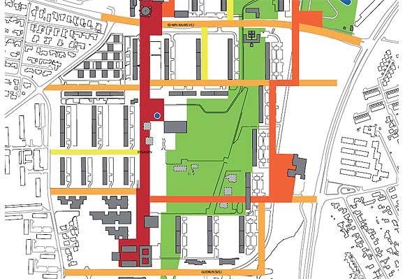 """Bygaden er markeret med rødt, områdets egen indre """"ringgade"""" med mørk orange og tværforbindelser med lys orange. Gult er andre nye veje."""