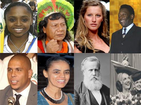 Arkivfoto af Dantadd fra Wikimedia: Billeder af otte brasilianere, fra venstre mod højre: Række 1: Daiane dos Santos, Akyboro Kayapo, Gisele Bundchen og Pele Linje 2: Ronaldo, Marina Silva, D. Pedro II og Carmen Miranda.