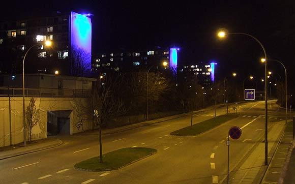Arkivfoto af Ulrik Ricco Hansen: Helhedsplanens høringsfase markeres bl.a. med blåt lys på blokkene