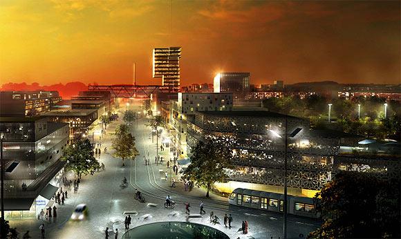 Visualisering: Gellerupparkens bygade set fra City Vest op mod Bazar Vest