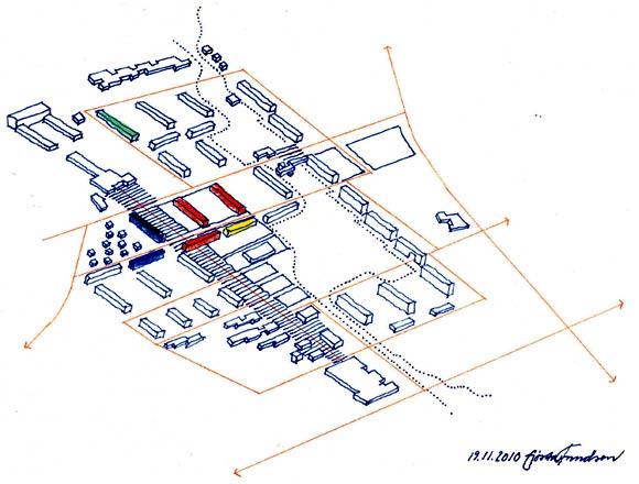 Ombygning til ungdomsboliger (blå), ombygning til ældreboliger (grøn), nedrivning (rød) og salg til ejerboliger (gul). Fra Skræppebladets ekstra-nr. december 2010