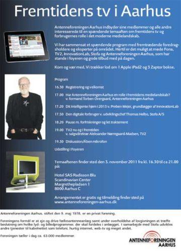"""Invitation til """"Fremtidens tv i Aarhus"""" kan hentes fra antenneforeningens hjemmeside."""