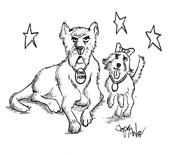 Store hund. Illustration af Jesper Ankjær