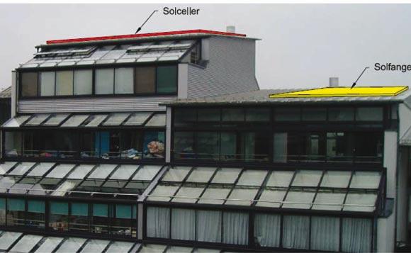 Eksempel på  placering af solceller og solfanger.