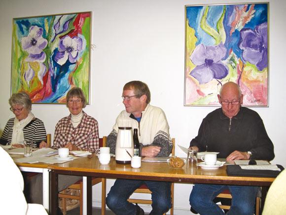 Genvalgt bestyrelse: Aase Christensen, Inge Cassøe og derudover Ib Ibsen og Vagn Holmelund, Margit Nørhave var ikke til stede.