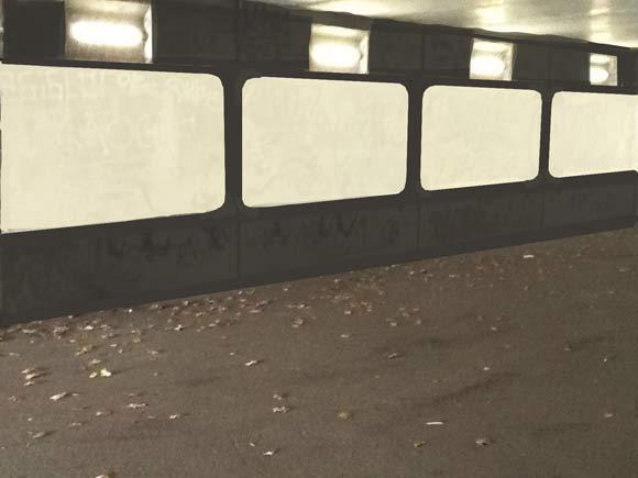 Væggene i tunnelen kommer til at ligne en filmstrimmel. (photoshop - Niels Rahbæk)