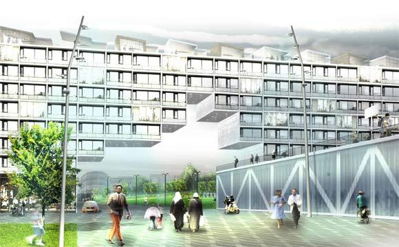 """Portåbning i eksisterende boligblok set fra Gudrunsvej/Globus1.  Visualisering fra """"Forslag til dispositionsplan Gellerupparken + Toveshøj"""" maj 2010"""