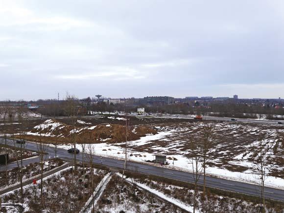 Boligforeningen øverste jordlod på den grønne kile er blevet ryddet ud til ringvejen i forbindelse med Helhedsplanen. Her skal Gudrunsvej rettes op i løbet af foråret.