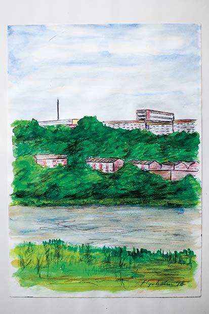 I alt seks tegninger af kendte Aarhus-vistaer, begået af Bent Flyvholm, hænger på en væg i Holmstrups Beboerforening.