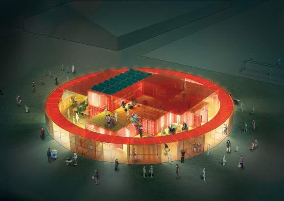 Det røde cirkelformede Info Centret bliver det nye Info Center i Instant City Gellerup.