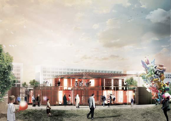 Der bliver både kontorer, mødelokale, cafe og scene i det nye center, der er tegnet af Arkitema.