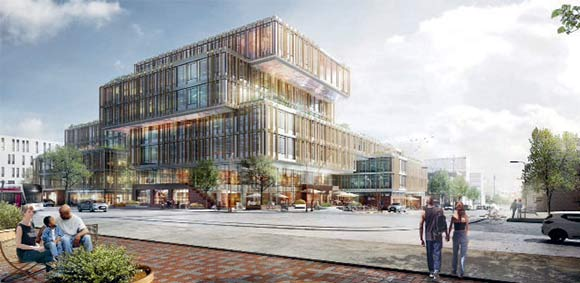 Sådan kommer kommunens nye bygning i Gellerup til at se ud set fra Bazar Vest ned langs den nye bygade.