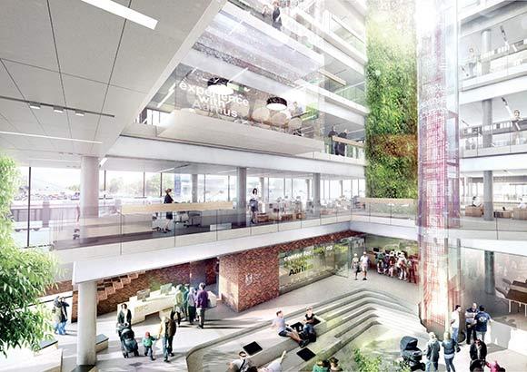 Arkitekternes bud på den indendørs indretning af det nye kontorhus med masser af liv.