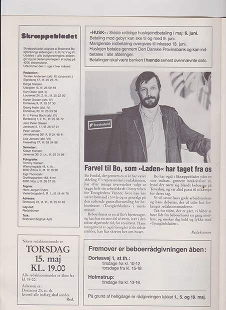 Bo Fosdal. Skræppebladet Maj 1986