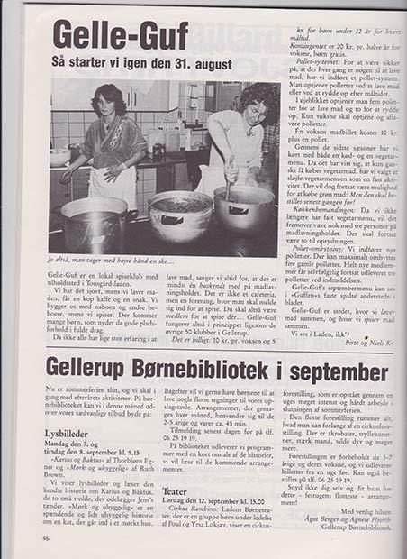 Ingrid Fosdal (t.v.) og Lis Almskov ved gryderne.  Skræppebladet September 1987.