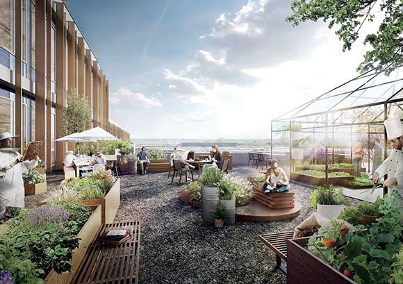 På taget af kontorbygningen indrettes forskellige uderum med udsigt over hele Gellerup og ind til Aarhus. Her er også drivhuse, hvor restaurantens kok kan dyrke sine egne grøntsager.
