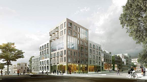 Kollegiet set fra hjørnet af den nye bygade og Lottesvej.