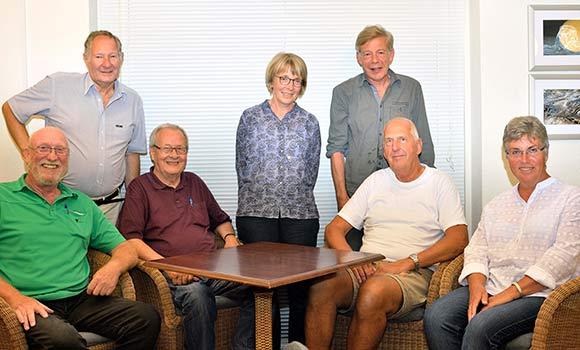 Den nye bestyrelse. Fra venstre: Erik Poulsen, Ib Frandsen, Johs. Fagthmann, Inge Pedersen, Jens Kragsnæs, Ole Møller og Sonja Delfs.