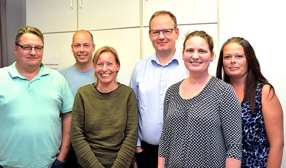 Den nye bestyrelse fra venstre. Per Tirstrup Nielsen, Jesper Viberg, Dorit Strandgaard( 1. suppleant), Maria Kahr Ovesen, Lone Lysdal Klitgaard