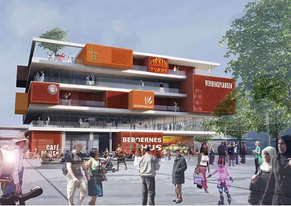 Forslag til nyt beboerhus på Verdenspladsen. Illustration fra dispositionsplanen for Gellerup og Toveshøj.