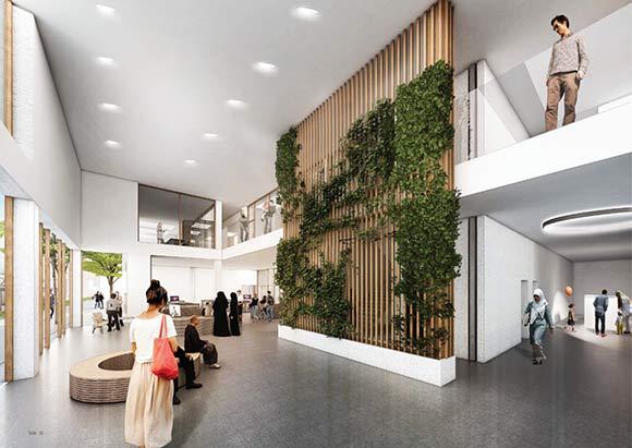 Sådan forestiller Cubo Arkitekter sig, at boligforeningens nye indgangsparti og ekspeditionsområde kan se ud – åbent og indbydende.