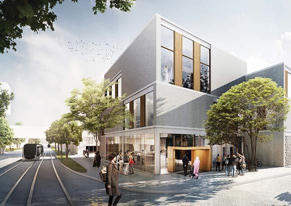 Boligforeningens nye administrationsbygning skal ligge på hjørnet af Edwin Rahrs Vej og Karen Blixens Boulevard.