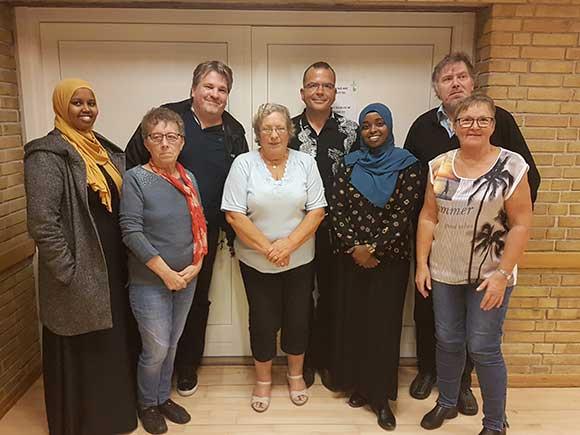 Den nye bestyrelse(fra venstre): Hanaan Yusuf, Ruth Johansen, Michael Kock, Conny Jepsen, Kasper Jensen, Najma Mohamoud(1. suppleant) Vagn Eriksen og Lise Klærke.
