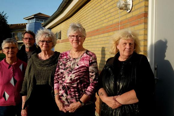 Bestyrelsen fra venstre: Gretha Munk, Søren Lange, Aase Asmus Christensen, Inger Nielsen, Birte Günzel (1.-suppleant). Lene Gjørup var bortrejst og kunne ikke være med på billedet.