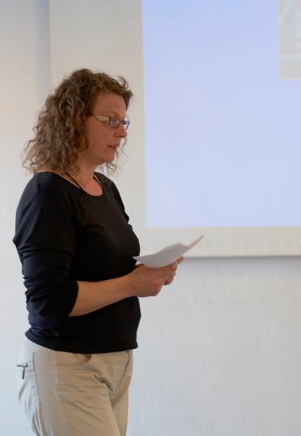 Formand Anja Spalding med beretningen.