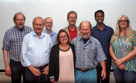 Den nye bestyrelse(fra venstre) Peter Iversen, Johannes Faghtmann (1. suppleant), Mathias Ottesen, Christina Madsen, Erik Bløcher, Keld Albrechtsen, Abdinasir Jama Mohamed og Helle Hansen.