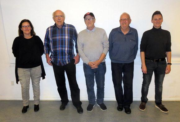 Den nye afdelingsbestyrelse: Sarah Bjørnhaug, Per Abild, Poul Erik Nielsen, John L. Nielsen og Maria Torp Høgh.