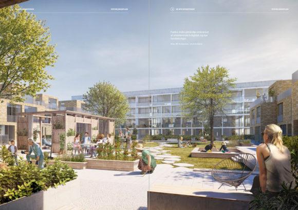 Arkitektens forslag til, hvordan fremtidens fortætning kan se ud i Gellerup.