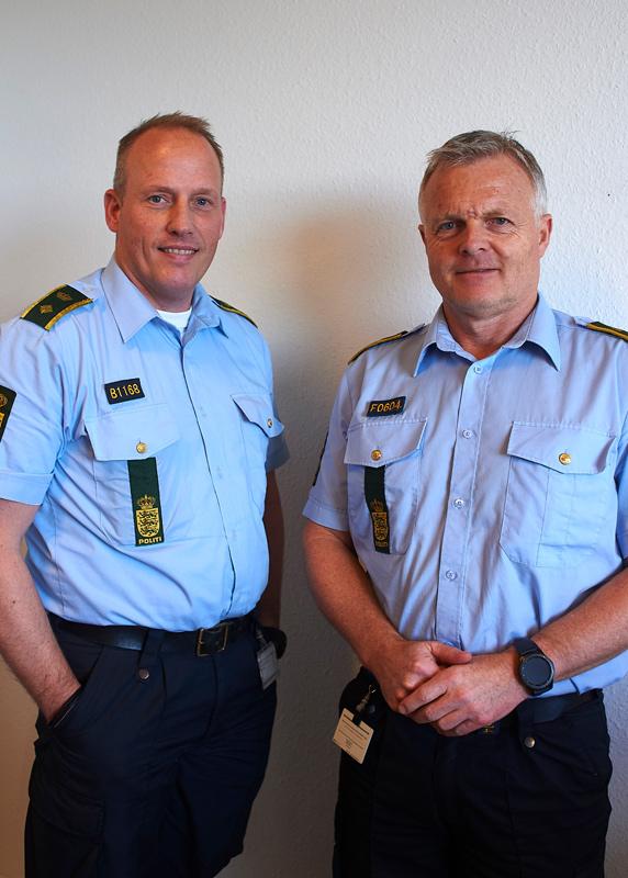 Politikommissærerne Jens-Henrik Jensen og Klaus Hvegholm Møller er det nye makkerpar hos lokalpolitiet i Aarhus Vest.