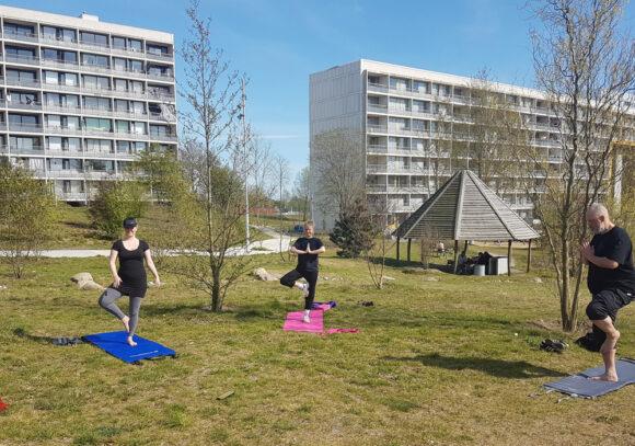 Når vejret er godt, så er det dejligt at dyrke yoga i Joops Have.