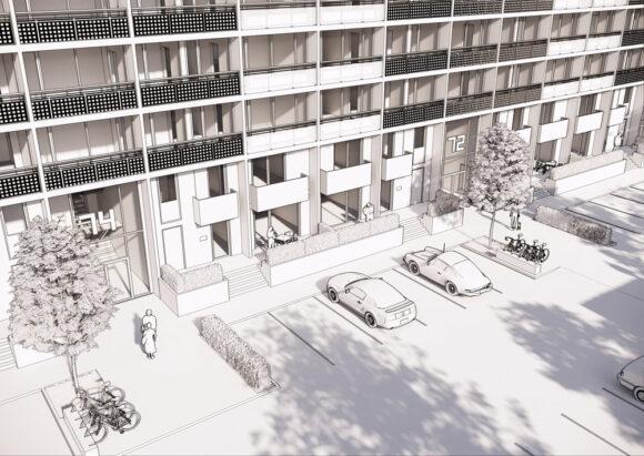 Skitse over det kommende p-areal foran blok B7.