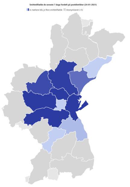 Kort viser smittede i Aarhus kommune pr. postnummer den seneste uge (24/1)