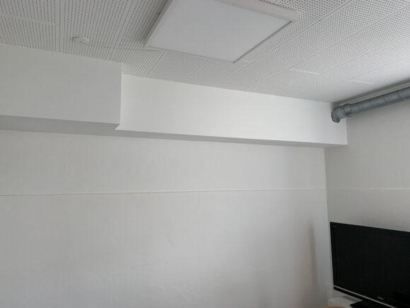 Inddækningskasser, som skal udføres i mange rum, hvis anlægget ikke placeres i entréen.